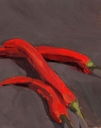 Mischa Merz - Still ife painting images - Still life with chillies